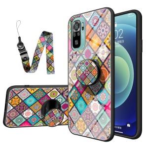 Θήκη Xiaomi Redmi Note 10 OEM Colorful Flower Print Glass Hybrid Phone Case Protector with Lanyar 2