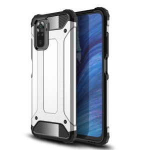 Θήκη Xiaomi Redmi Note 10 OEM Armor Guard Hybrid Πλάτη από σκληρό πλαστικό και TPU ασημί