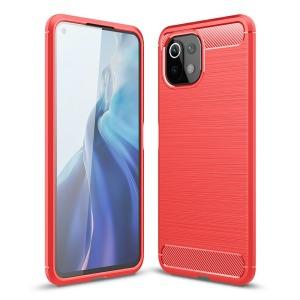 Θήκη Xiaomi Mi 11 Lite 4G / 5G OEM Brushed TPU Carbon Πλάτη κόκκινο ανοιχτό