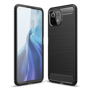 Θήκη Xiaomi Mi 11 Lite 4G / 5G OEM Brushed TPU Carbon Πλάτη μαύρο