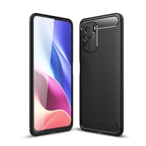 Θήκη Xiaomi Poco F3 OEM Brushed TPU Carbon Πλάτη μαύρο