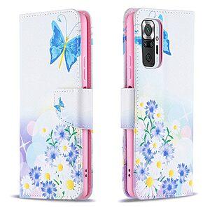Θήκη Xiaomi Redmi Note 10 Pro OEM Blue Butterfly & Flowers με βάση στήριξης