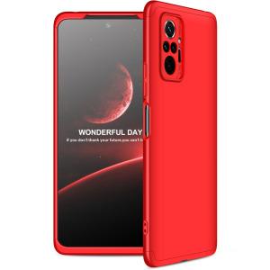 Θήκη GKK Full body Protection 360° από σκληρό πλαστικό για Xiaomi Redmi Note 10 Pro κόκκινο