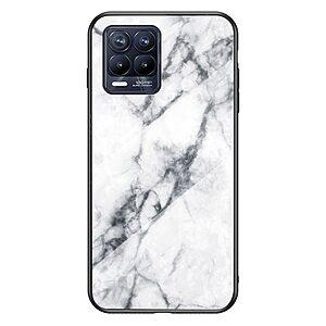 Θήκη Realme 8 / 8 Pro OEM σχέδιο Marble με Πλάτη Tempered Glass TPU λευκό
