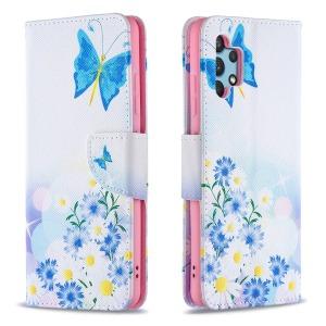 Θήκη Samsung Galaxy A32 4G OEM Blue Butterfly & Flowers με βάση στήριξης