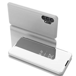 Θήκη Samsung Galaxy A32 4G OEM Mirror Surface Series Flip Window δερματίνη ασημί
