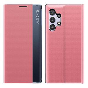 Θήκη Samsung Galaxy A32 4G OEM Half Mirror View Stand Cover με μαγνητικό κούμπωμα από συνθετικό δέρμα φούξια
