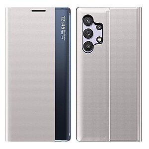 Θήκη Samsung Galaxy A32 4G OEM Half Mirror View Stand Cover με μαγνητικό κούμπωμα από συνθετικό δέρμα γκρι