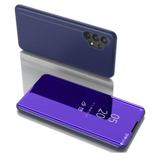 Θήκη Samsung Galaxy A32 4G OEM Mirror Surface Series Flip Window δερματίνη μπλε / μωβ