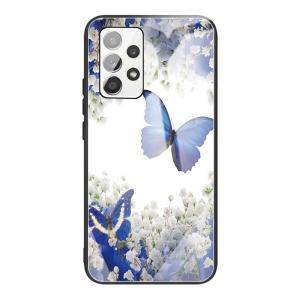 Θήκη Samsung Galaxy A32 4G OEM σχέδιο Blue Butterfly με πλάτη από Tempered Glass και εσωτερικό TPU