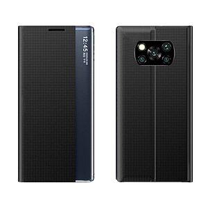 Θήκη Xiaomi Poco X3 NFC / X3 Pro OEM Half Mirror View Stand Cover με μαγνητικό κούμπωμα από συνθετικό δέρμα μαύρο