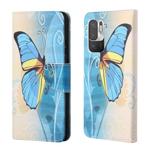 Θήκη Xiaomi Redmi Note 10 5G / Poco M3 Pro 5G OEM Blue Butterfly & Flowers με βάση στήριξης