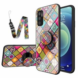 Θήκη Xiaomi Redmi Note 10 5G / Poco M3 Pro 5G OEM Colorful Flower Print Glass Hybrid Phone Case Protector with Lanyar 1