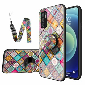 Θήκη Xiaomi Redmi Note 10 5G / Poco M3 Pro 5G OEM Colorful Flower Print Glass Hybrid Phone Case Protector with Lanyar 2
