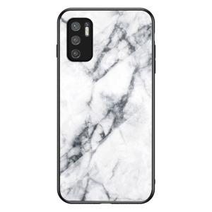 Θήκη Xiaomi Redmi Note 10 5G / Poco M3 Pro 5G OEM σχέδιο Marble με Πλάτη Tempered Glass TPU λευκό