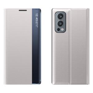 Θήκη OnePlus Nord 2 5G OEM Half Mirror View Stand Cover με μαγνητικό κούμπωμα από συνθετικό δέρμα γκρι