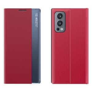 Θήκη OnePlus Nord 2 5G OEM Half Mirror View Stand Cover με μαγνητικό κούμπωμα από συνθετικό δέρμα κόκκινο