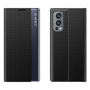 Θήκη OnePlus Nord 2 5G OEM Half Mirror View Stand Cover με μαγνητικό κούμπωμα από συνθετικό δέρμα μαύρο