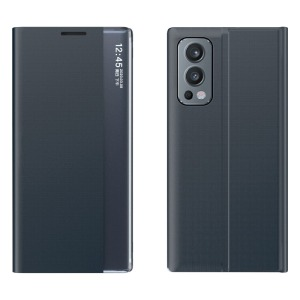 Θήκη OnePlus Nord 2 5G OEM Half Mirror View Stand Cover με μαγνητικό κούμπωμα από συνθετικό δέρμα μπλε