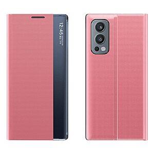 Θήκη OnePlus Nord 2 5G OEM Half Mirror View Stand Cover με μαγνητικό κούμπωμα από συνθετικό δέρμα ροζ