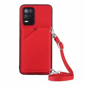 Θήκη Realme 8 5G OEM Πλάτη δερματίνη με υποδοχές καρτών και αντικραδασμικό Premium TPU κόκκινο