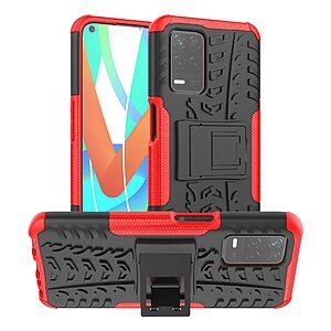 Θήκη Realme 8 5G OEM πλάτη Armor Tire Texture με βάση στήριξης κόκκινο