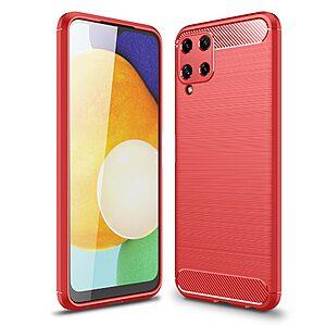 Θήκη Samsung Galaxy A22 4G OEM Brushed TPU Carbon Πλάτη κόκκινο ανοιχτό